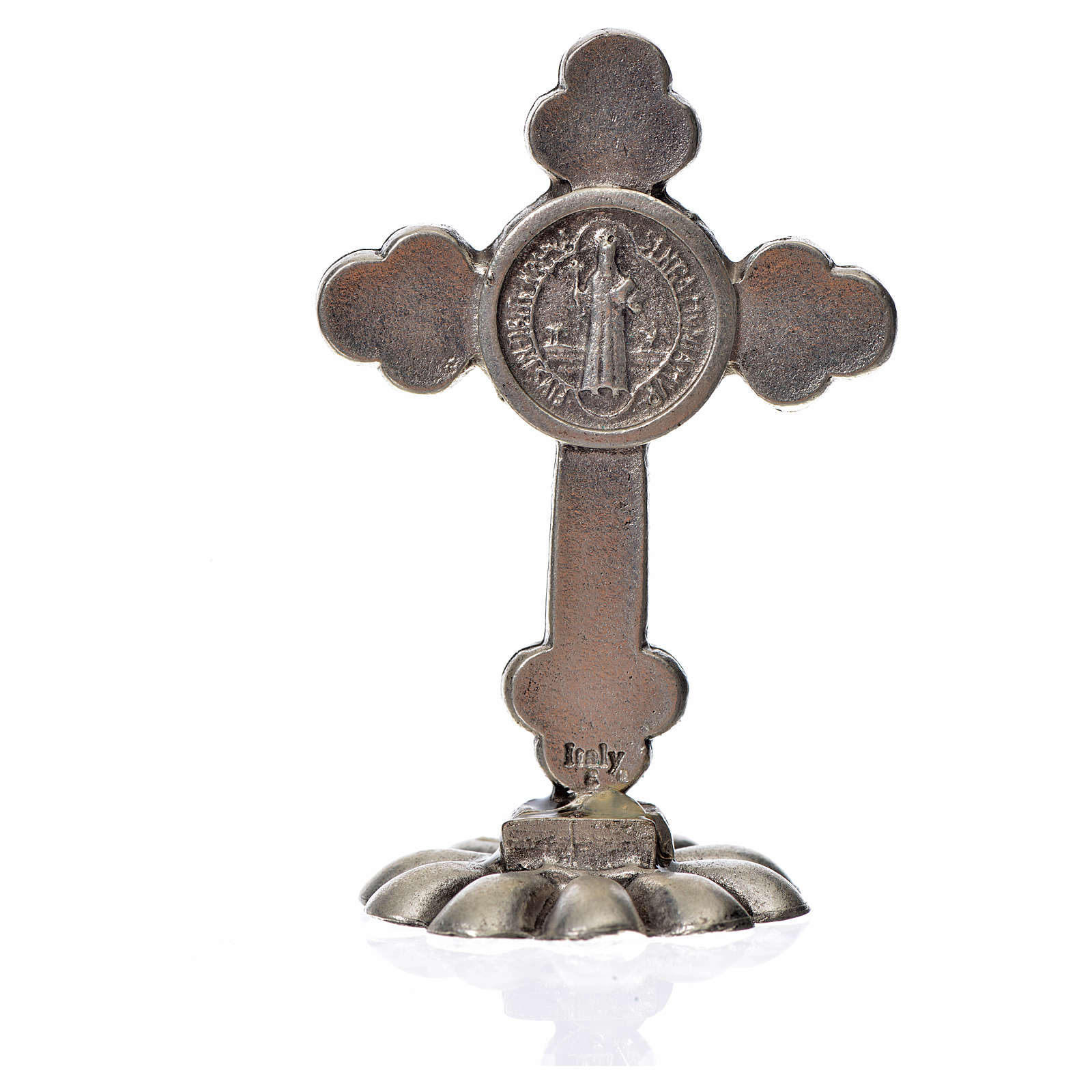 St. Benedict table trefoil cross 5x3.5cm, made of zamak and whit 4