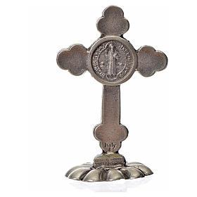 Croix trilobée Saint Benoît à poser 5x3,5 cm zamac émail bleu s4