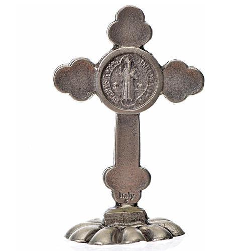 Croix trilobée Saint Benoît à poser 5x3,5 cm zamac émail bleu 2