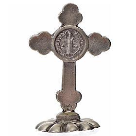 Cruz São Bento em trevo de mesa zamak 5x3,5 cm azul escuro s2
