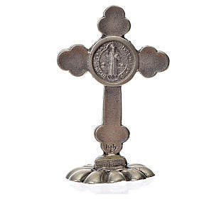 St. Benedict table trefoil cross 5x3.5cm, made of zamak and blue s4
