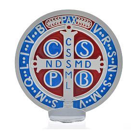 Médaille croix de Saint Benoît à poser 12,5 cm zamac blanc s3