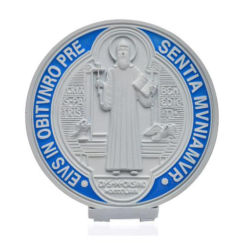 Médaille croix de Saint Benoît à poser 12,5 cm zamac blanc 1