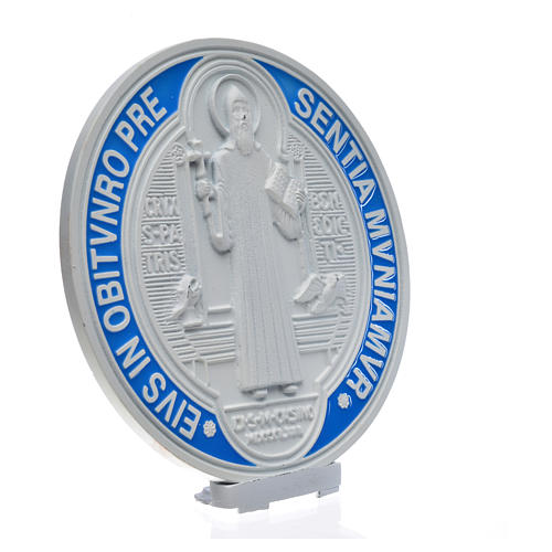 Médaille croix de Saint Benoît à poser 12,5 cm zamac blanc 2