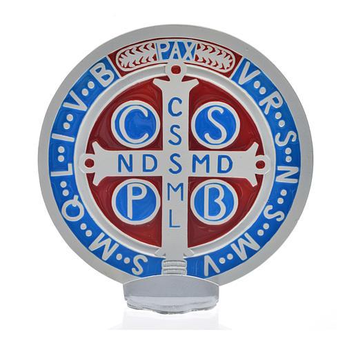 Médaille croix de Saint Benoît à poser 12,5 cm zamac blanc 3