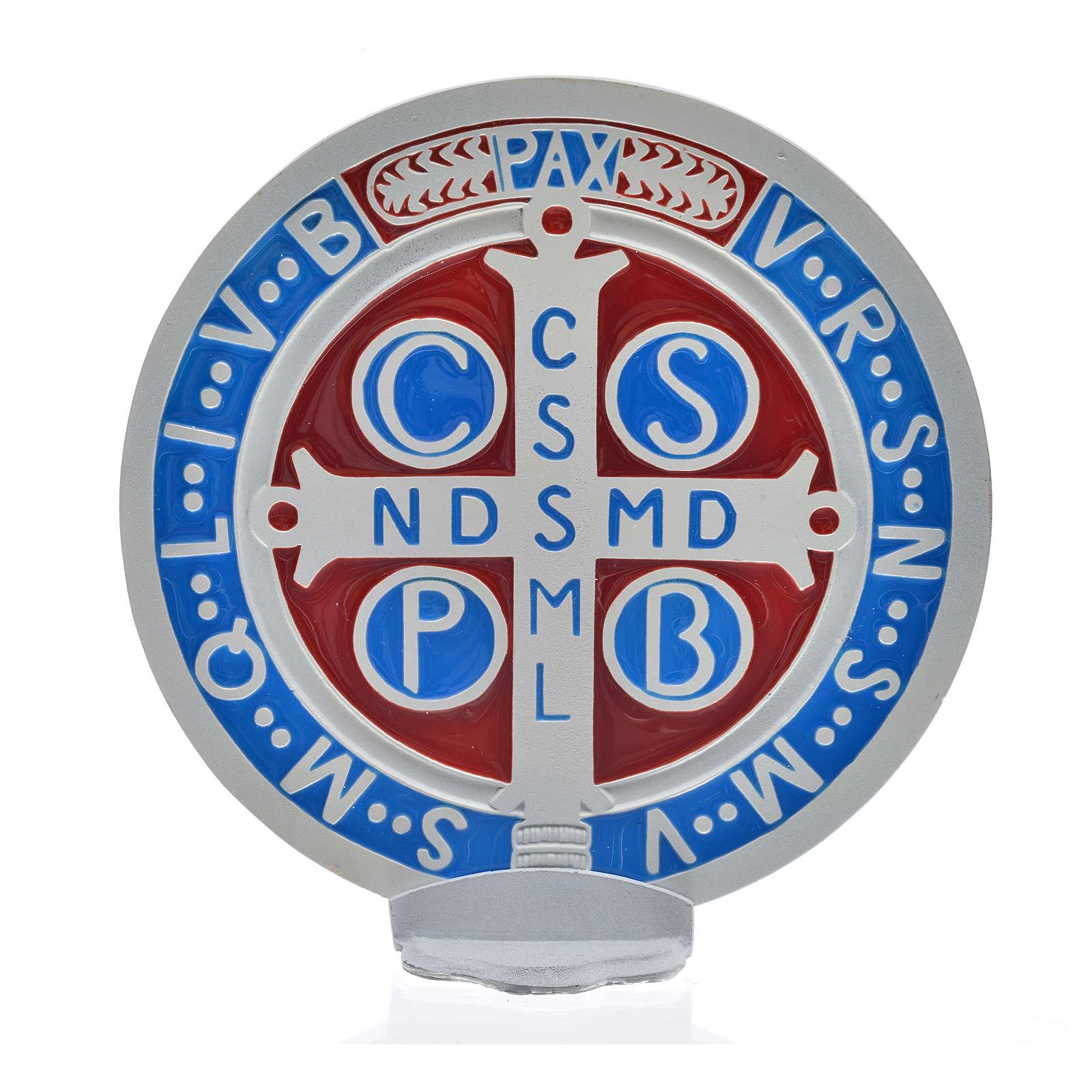 Medalha cruz São Bento zamak branco 12,5 cm 4