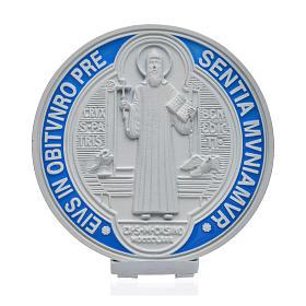 Medalha cruz São Bento zamak branco 12,5 cm