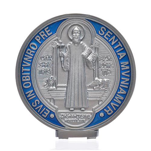 Medaille Sankt Benedikt Zamak-Legierung versilbert 12,5 cm