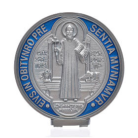 St. Benedict cross medal, silver zamak 12.5cm s1