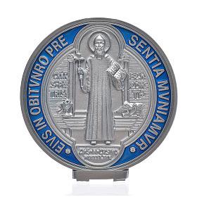 Medalla cruz San Benito zamak plateada 12.5 cm.