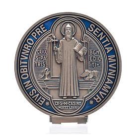 Médaille croix de Saint Benoît à poser 12,5 cm zamac argenté s4