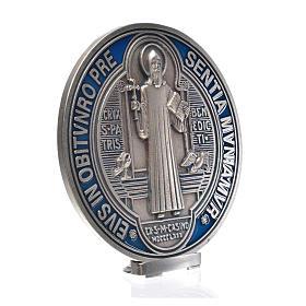 Médaille croix de Saint Benoît à poser 12,5 cm zamac argenté s5