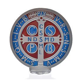 Medaglia croce San Benedetto zama vernice argentata 12,5 cm s3