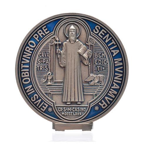Medaglia croce San Benedetto zama vernice argentata 12,5 cm 4
