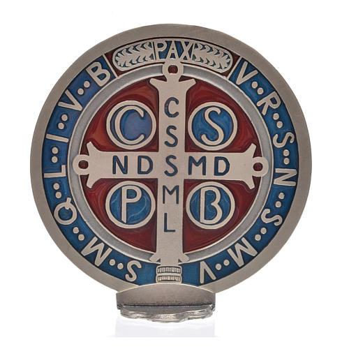Medaglia croce San Benedetto zama vernice argentata 12,5 cm 6