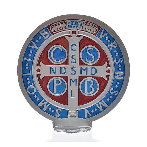 Medaglia croce San Benedetto zama vernice argentata 12,5 cm 3