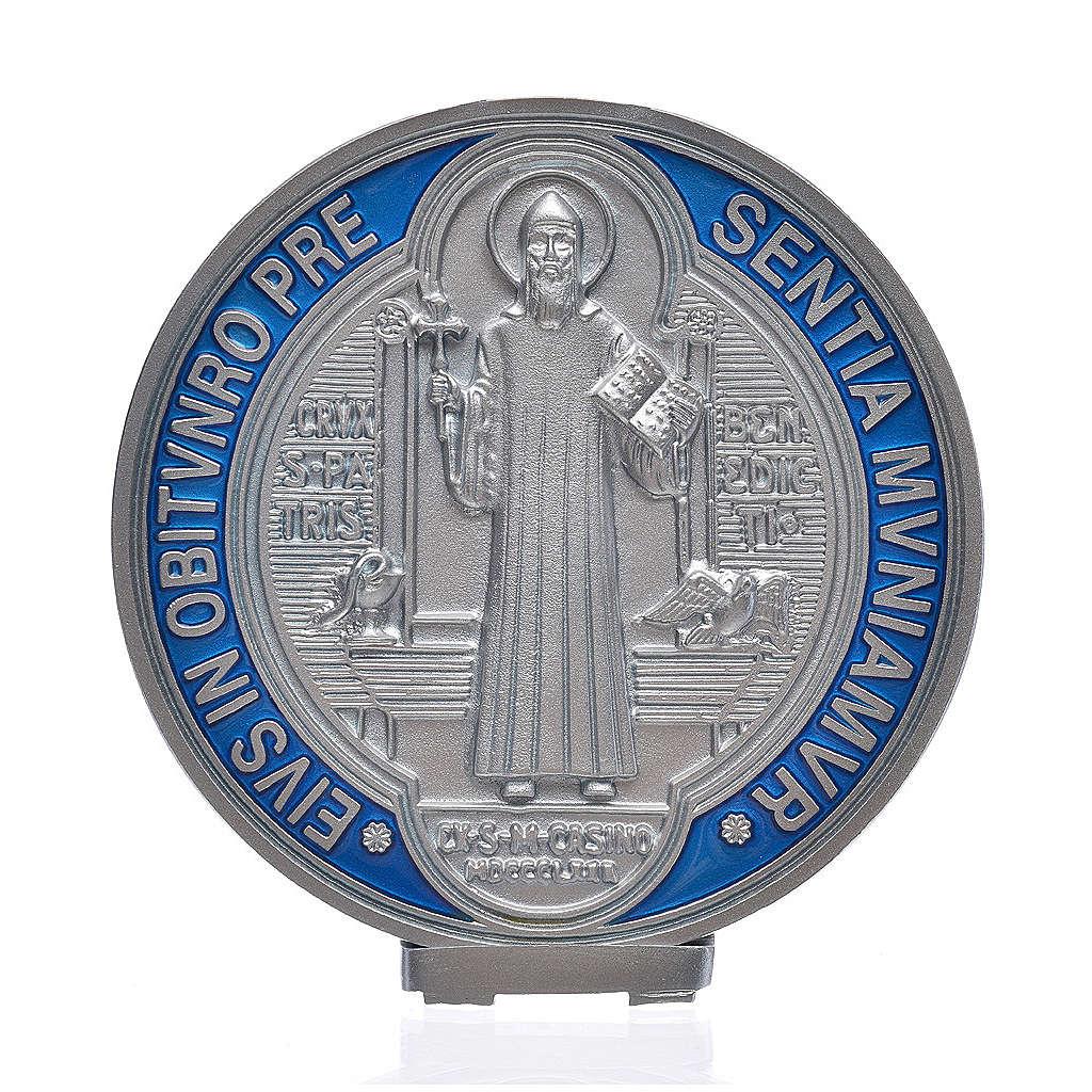 Medalha cruz São Bento zamak com prata 12,5 cm 4