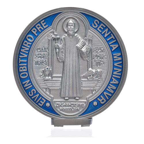 Medaille Sankt Benedikt Zamak-Legierung Versilberung 12,5 cm 4