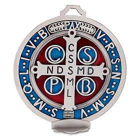 Médaille croix Saint Benoît zamac avec argenture 12,5 cm s2
