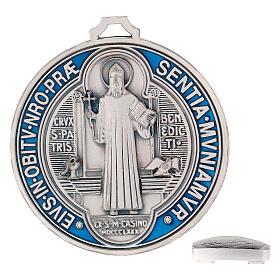 Médaille croix Saint Benoît zamac avec argenture 12,5 cm s5