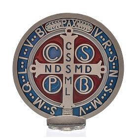 Medaglia croce San Benedetto zama placcato argento 12,5 cm s3