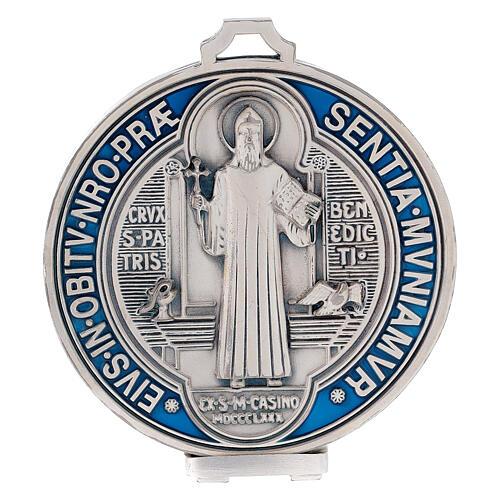 Medaglia croce San Benedetto zama placcato argento 12,5 cm 1