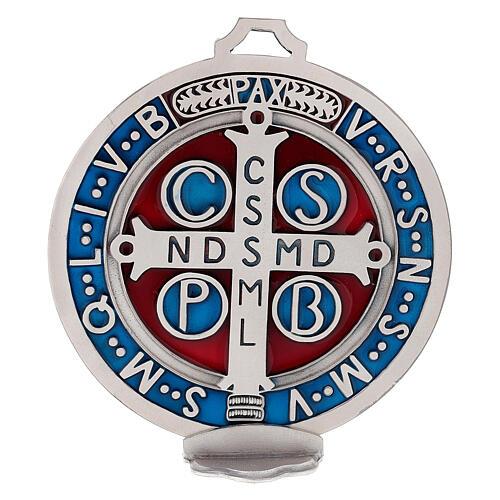 Medaglia croce San Benedetto zama placcato argento 12,5 cm 2