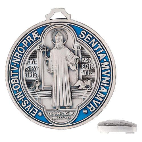 Medaglia croce San Benedetto zama placcato argento 12,5 cm 5