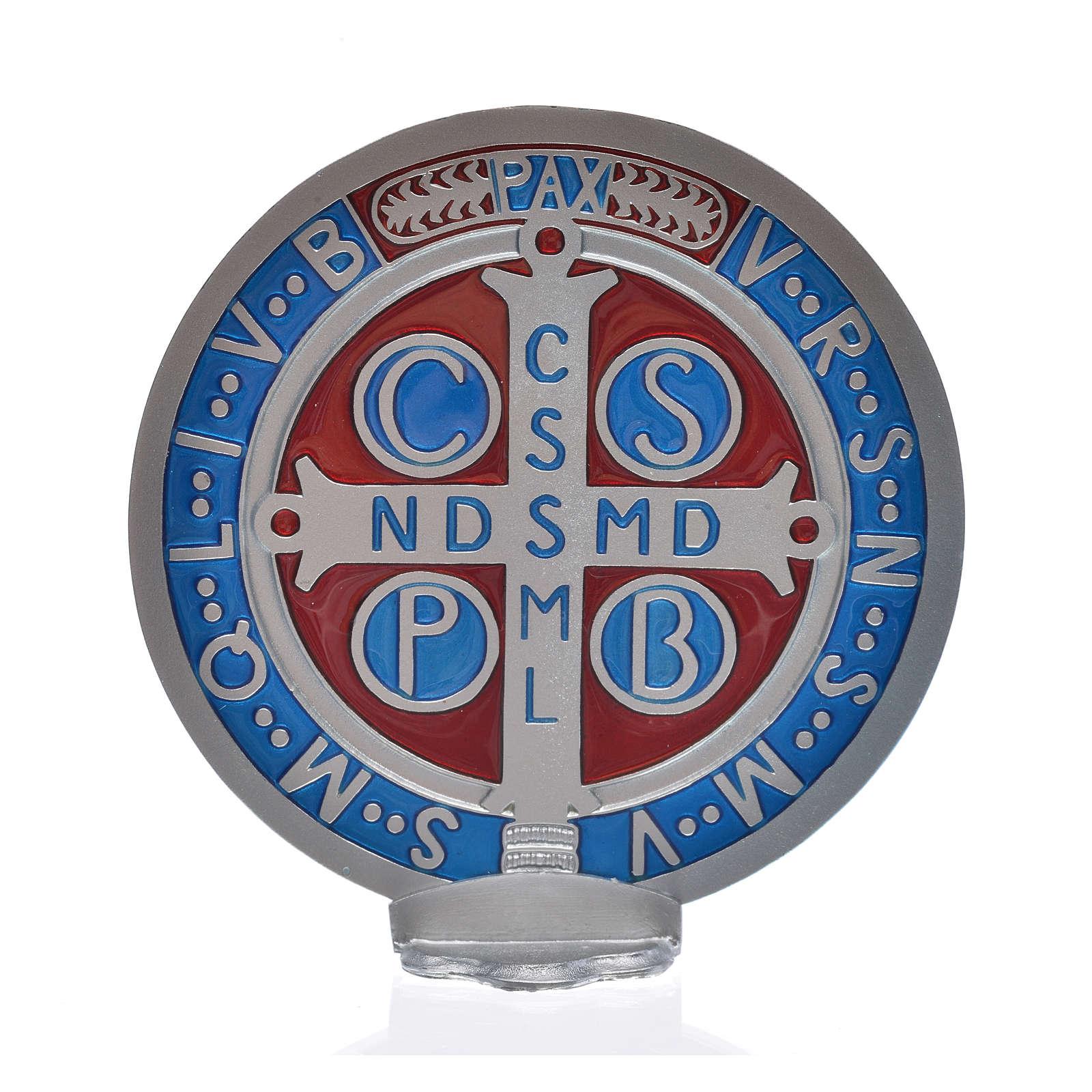 Medalha cruz São Bento zamak prateado 12,5 cm 4