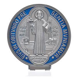 Medalha cruz São Bento zamak prateado 12,5 cm s4