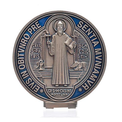 Medalha cruz São Bento zamak prateado 12,5 cm 1