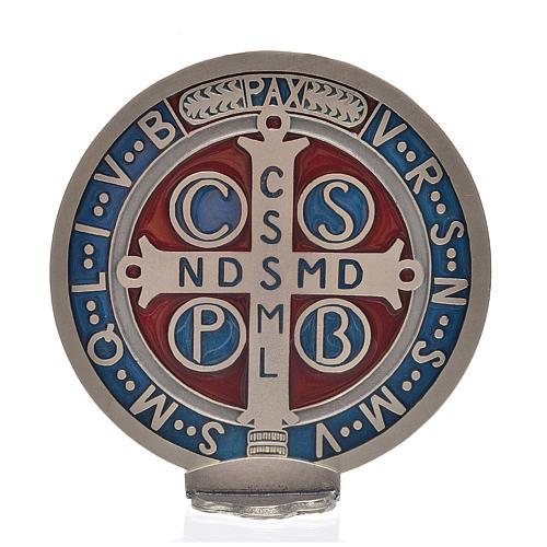 Medalha cruz São Bento zamak prateado 12,5 cm 3