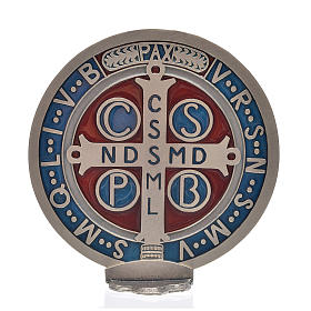 St. Benedict cross medal, zamak with silver plating 12.5cm s3