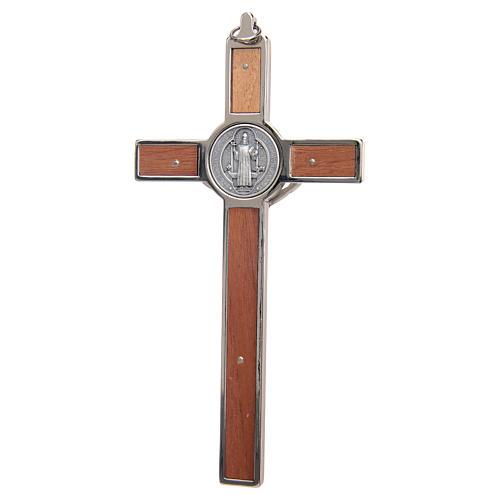 Kreuz Sankt Benedikt aus Zamak-Legierung mit Holz-Schnitzerei