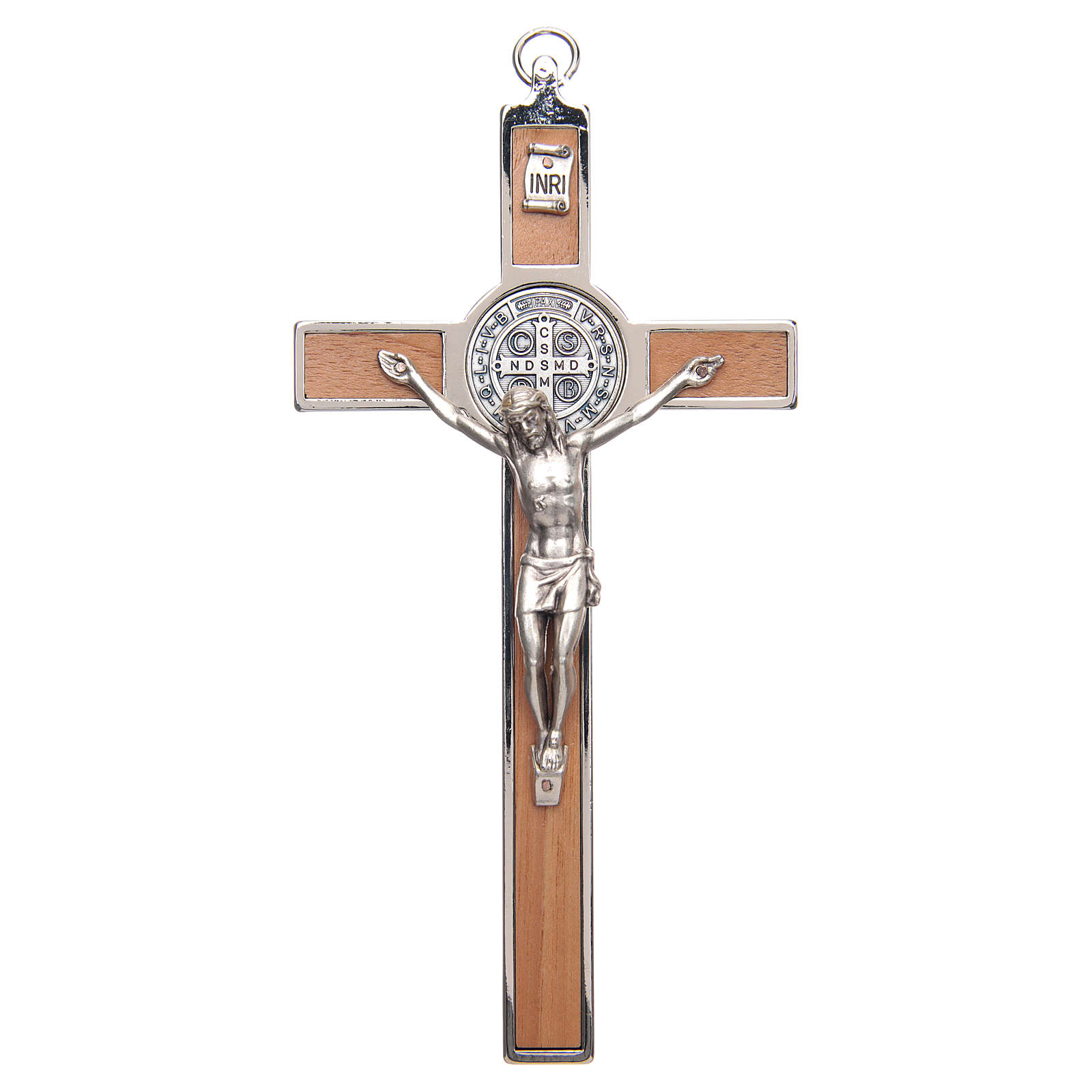 St. Benedict cross in zamak and carved wood 4
