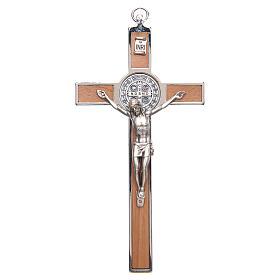 Crucifixo São Bento zamak cruz madeira s1