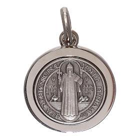 Medalha cruz São Bento prata 925 16 mm