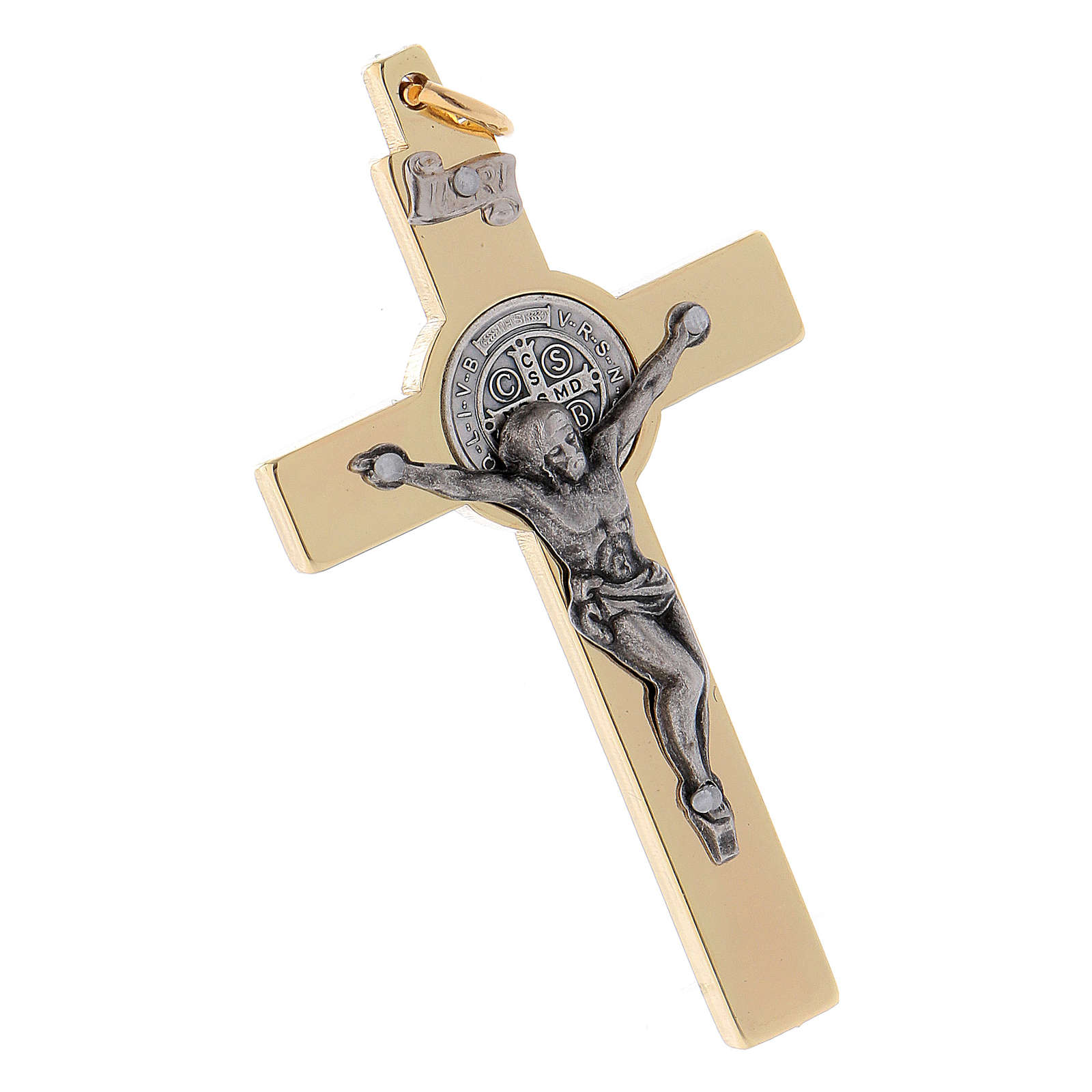 Cross of St. Benedict in golden steel 6x3 cm 4