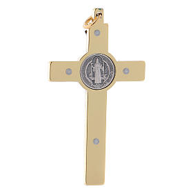 Cross of St. Benedict in golden steel 6x3 cm s2