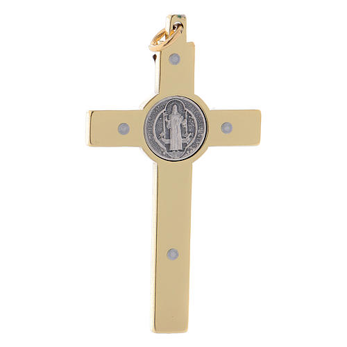 Cross of St. Benedict in golden steel 6x3 cm 2
