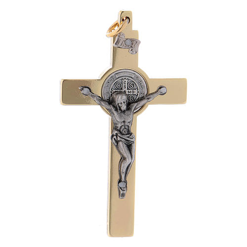 Cruz San Benito de acero dorada 6x3 cm 1
