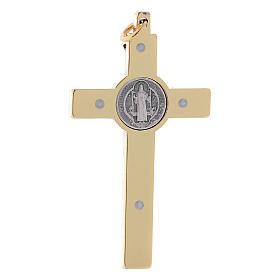 Croix Saint Benoît en acier doré 6x3 cm s2