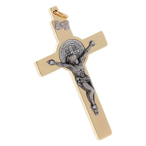 Croix Saint Benoît en acier doré 6x3 cm 3