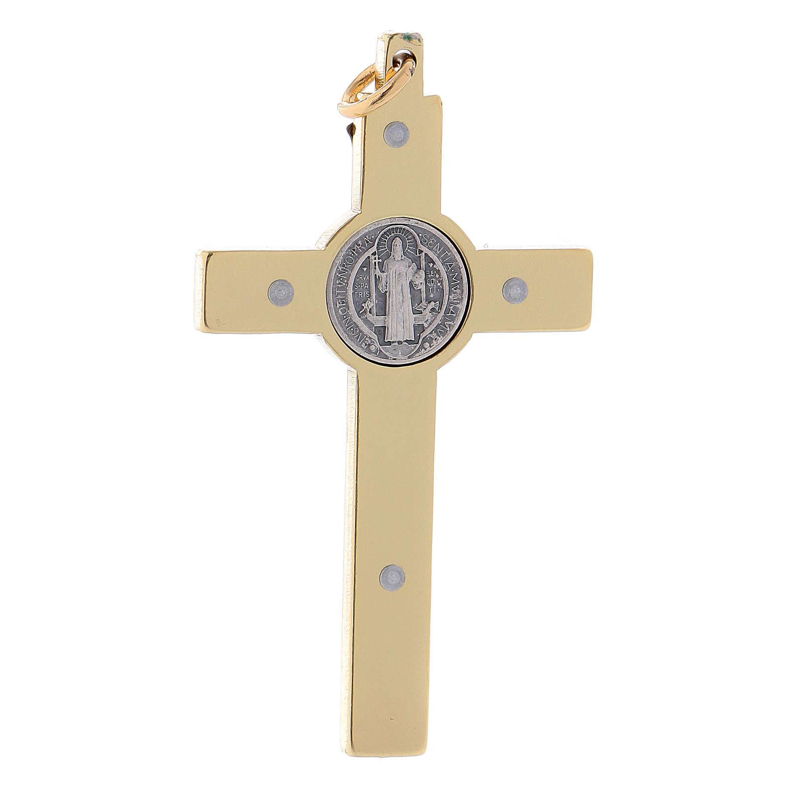 Croce San Benedetto in acciaio dorata 6x3 cm  4