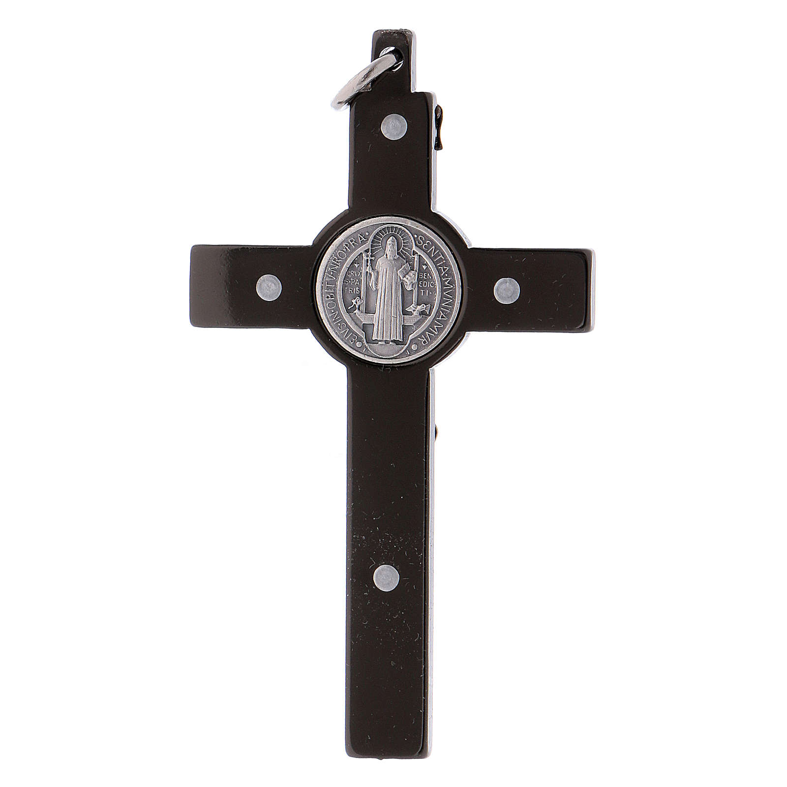 Cross of St. Benedict in black steel 6x3 cm 4