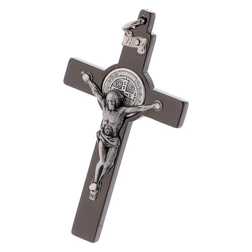 Cross of St. Benedict in black steel 6x3 cm 3