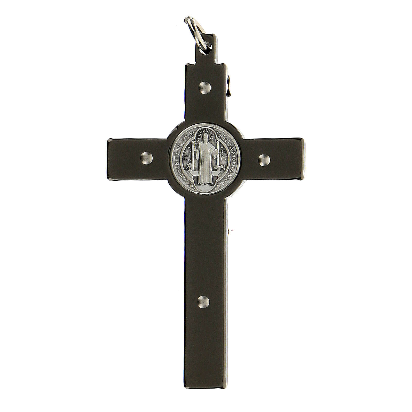 Saint Benedict Cross in black steel 6x3 cm 4