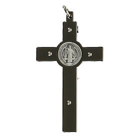Saint Benedict Cross in black steel 6x3 cm s3