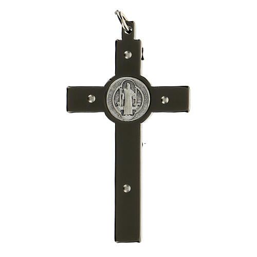 Saint Benedict Cross in black steel 6x3 cm 3