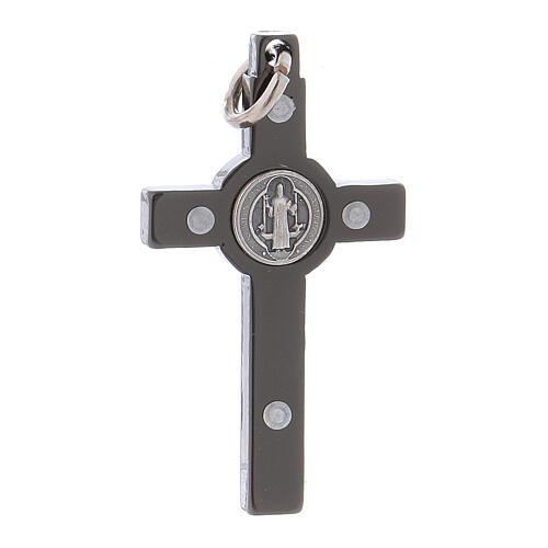 Kreuz von Sankt Benedikt aus schwarzem Stahl, 4 x 2 cm